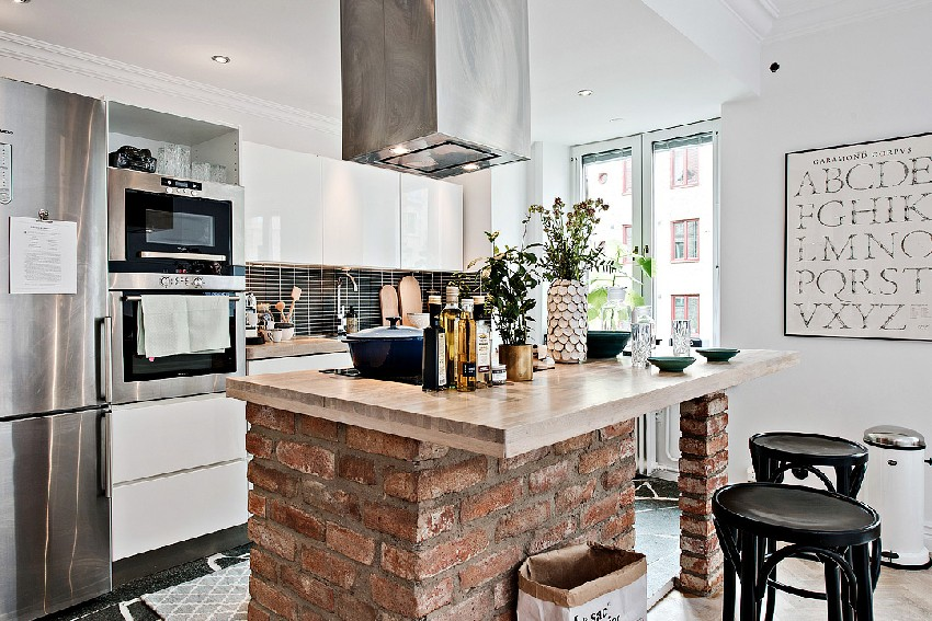 one-room Scandinavian apartment renovated kitchen