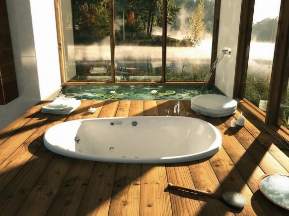 Несколько фотографий расслабляющих интерьеров ванных комнат