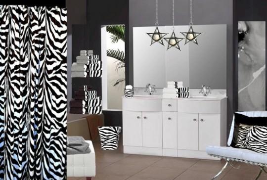 Принт зебры в интерьере ванной комнаты