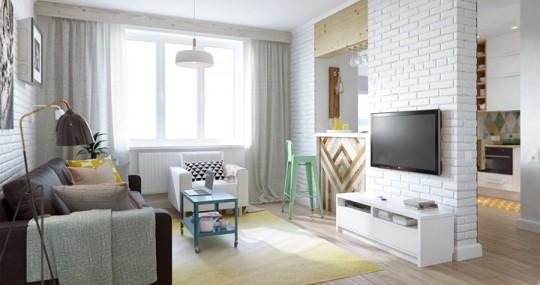 Продуманный интерьер квартиры площадью 45 квадратных метров