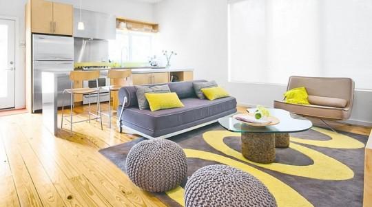 Серо-желтый интерьер